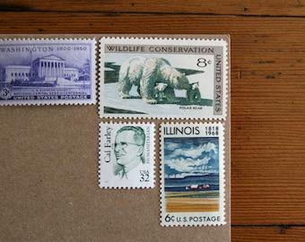 Grab bag of unused vintage postage stamps - For 10 letters
