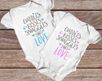 Cuddles Kisses Snuggles Love Baby Bodysuit |  Baby Shower Gift |  Cute Baby Clothes | Going Home Outfit | Slogan Baby Bodysuit