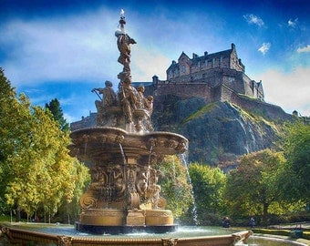 Edinburgh Castle from Ross Fountain Scotland Photograph