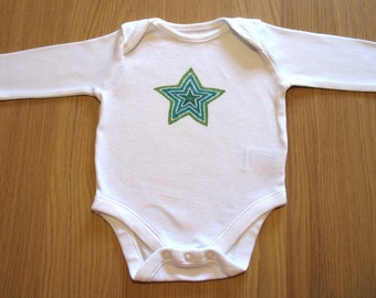 Hand Drawn Baby Onesie - Green Star