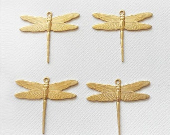 4 Small Brass Dragonfly Pendants - 1 Ring