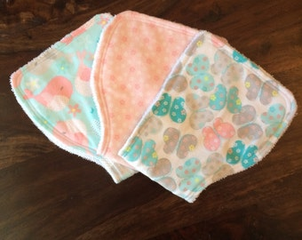Burp Cloth Set for that special Baby Girl ~Butterflies and Birdies -