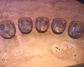 Mid Century Dorothy Thorpe Roly Poly glasses set of 5