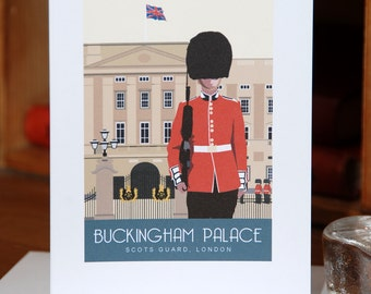 Greetings Card of a Scots Guard outside Buckingham Palace, London (Card ID: WOS153)