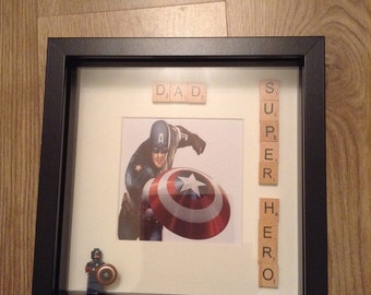 Marvel Hero Captain America Box Photo Frame & Figure Father's Day Gift