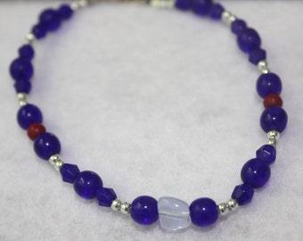 Cobalt Blue and Silver Glass Bracelet