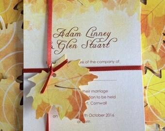 Wedding invitation - Fall invitation - Autumn invitation - Autumn leaves - Fall leaves - Falling leaves - Russet orange and yellow - Autumn