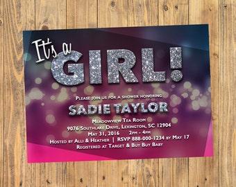 Baby Shower Invitation - It's a Girl! Bokeh Glitter Invitation 5x7 Horizontal - Custom Digital Download