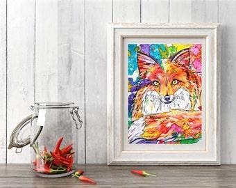 Vixen - Colourful Fox Art Print
