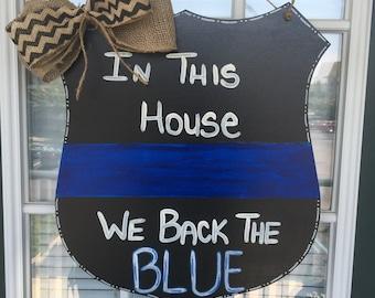 Police Door Hanger We Back The Blue