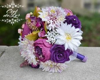 Wedding Bouquet, Purple Bridal Bouquet, Silk Chrysanthemum, Peony Bouquet, Purple Roses Silk Flowers