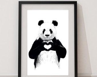 Panda Printable Art/Panda Poster/Panda Love/Panda illustration/Panda Bear poster/Panda Decor/Panda Artwork/Animal print/Kids Wall Art/ Panda