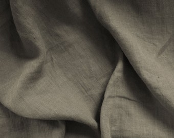 Pure 100% linen fabric. Gray grey color, cool shade, middle darkness. Natural flax Baltic linen fabric