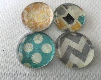 Set of Four Magnets (Gray/Aqua)
