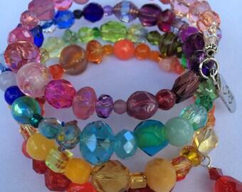 Multi-color/Rainbow Glass Bead Memory Wire 4-row Bracelet (Item # 201607-MB4-3)