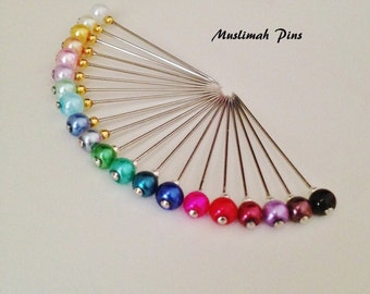 Just pearls mini hijab pins set. Lapel pins, hat pins.