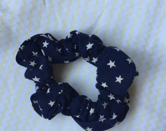 Navy Blue and Starry Scrunchie
