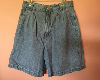 Navy Blue and White Striped High Waisted Shorts