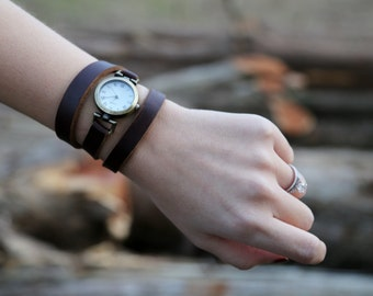 Womens Leather Wrap Watch