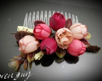 Rustic rose hair comb