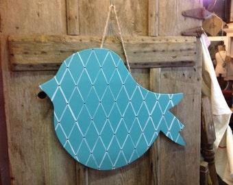 Nesting Bird Door Hangerr with lattice print