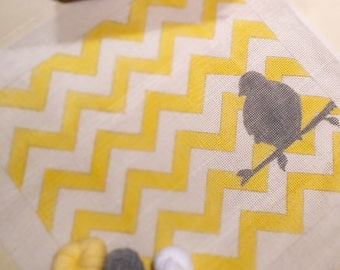 One Grey Bird on Yellow Chevron Needlepoint Tapestry Kit