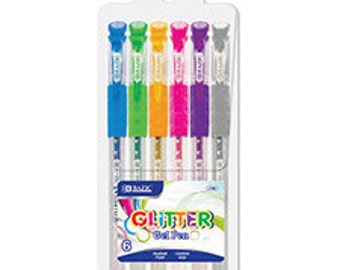 6 pk Glitter Gel Pens with Cushion Grip, School Supplies