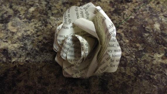 Literary paper rose on stem, Wedding decor, Wedding flowers, Anniversary, valentines, birthday, teacher gift