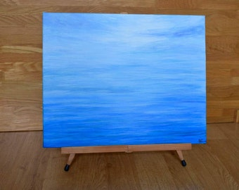 Original Abstract Seascape in Blue Painting on Canvas