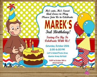 Curious George Invitation, Curious George Party, Curious George Birthday Invitation, Curious George Invite, Printable, Any Age Customizable