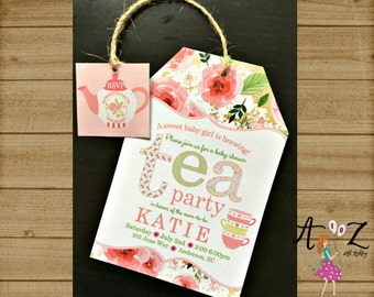 tea party baby shower invitation tea bag invitation tea party invitation baby is