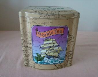 Rington's 'World of Tea' Vintage Tea Caddy/Tin/Container/