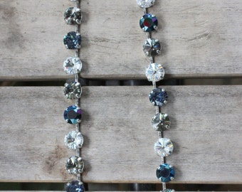 Versatile crystal necklace in blues, grays, and clear crystals