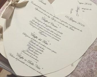 Heart shape wedding menu customizable