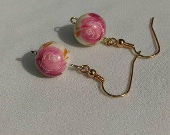 Rose Ceramic Bead Dangle Earrings