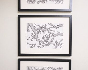 3x A4 set of prints, Oak tree, forest illustration, black and white art, tree drawing, wall art, line drawing, wall art, tree picture