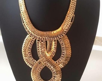Beautiful large gold statement necklace