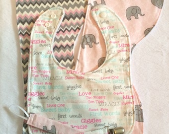 Baby Gift Set - Bib, Two Burp Cloths, Two Pacifier Clips