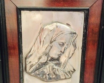 Blessed Virgin Mary Metal Relief Sculpture Religious Art Blessed Mother Hand Sculpted Hand Tinned wall Picture Framed