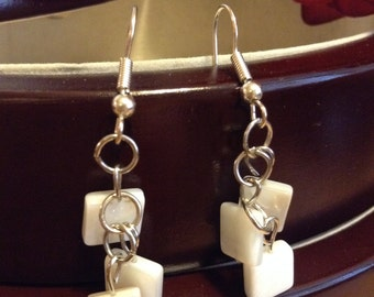 Square Peal White Earrings