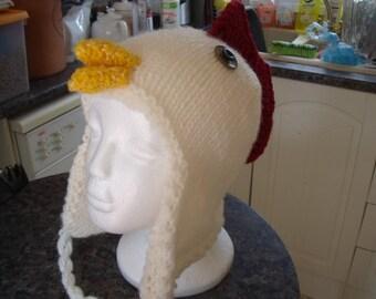 Hand knitted novelty chicken hat