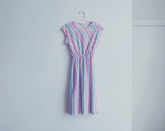 1950s vintage pastel stripe dress
