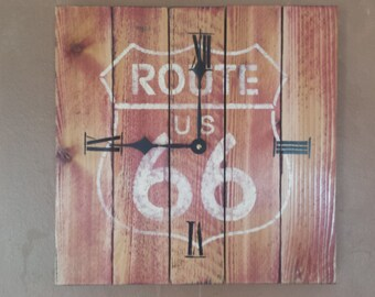Handmade, wood Route 66 clock, free usa t-shirt