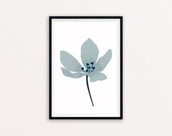 Blue Magnolia Floral Art Print, a4 giclee print of an original illustration