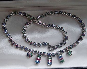 Stunning Vintage Crystal Necklace in Iris Rainbow Stones - 1950's