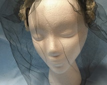 Lovely Vintage 1950s Fascinator With Floral Headband and Full Face Veil