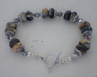 """7 """"Crazy Agate and Crystal Beaded Bracelet"""