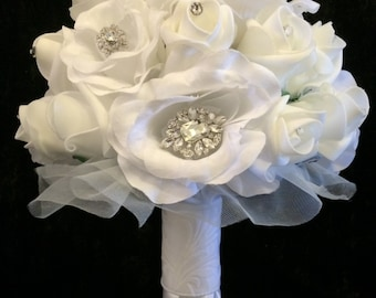 White Rose Bouquet with Crystals & Rhinestones