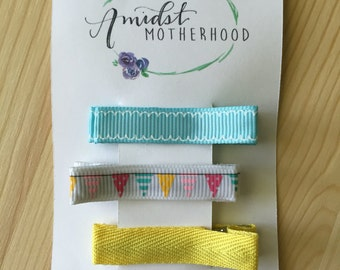 No Slip Alligator Hair Clip Set - Baby, Toddler, Girl - Yellow, Mint, Blue, Bunting