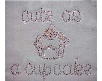 Cute Vintage Crystal Birthday Cupcake Bling Motif Cartoon Disney Rhinestone Wedding Iron on Heat Transfer Child Appliques Hot Fix T Shirt